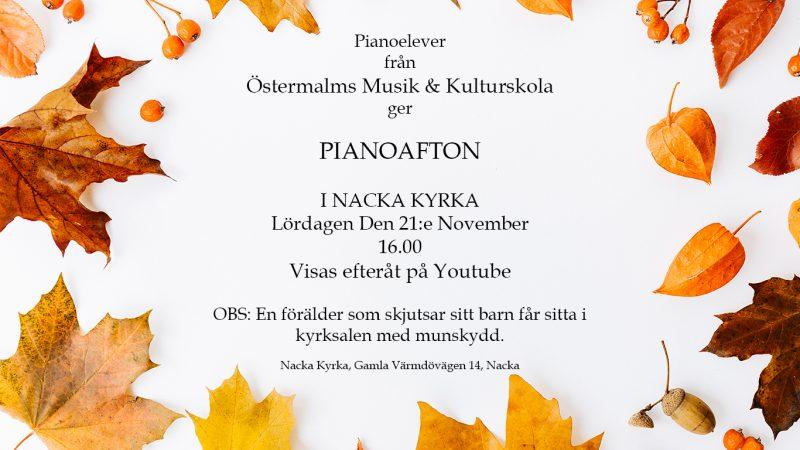 Affisch för pianoafton