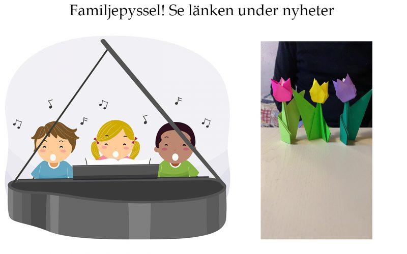 Familjepyssel, piano och sång, origami